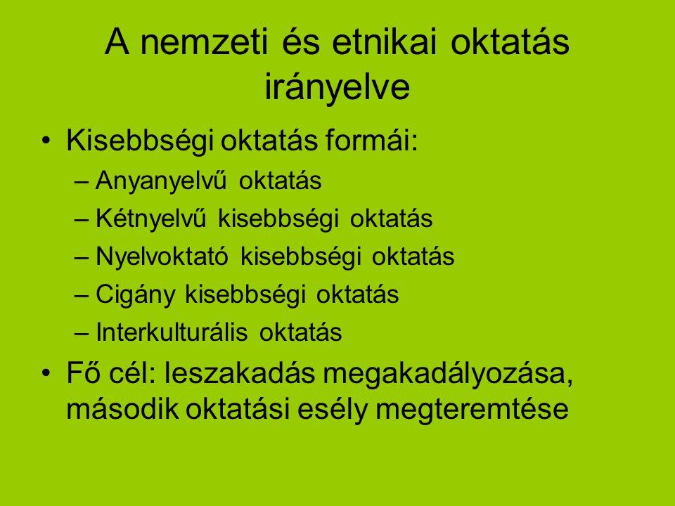 A nemzeti és etnikai oktatás irányelve Kisebbségi oktatás formái: –Anyanyelvű oktatás –Kétnyelvű kisebbségi oktatás –Nyelvoktató kisebbségi oktatás –C