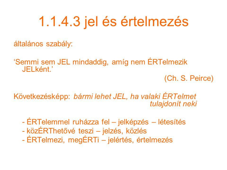 1.1.4.3 jel és értelmezés általános szabály: 'Semmi sem JEL mindaddig, amíg nem ÉRTelmezik JELként.' (Ch.