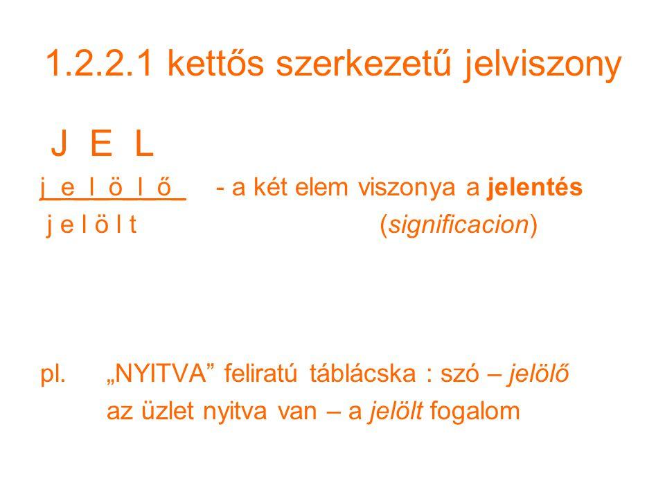 1.2.2.1 kettős szerkezetű jelviszony J E L j_e_l_ö_l_ő_ - a két elem viszonya a jelentés j e l ö l t (significacion) pl.