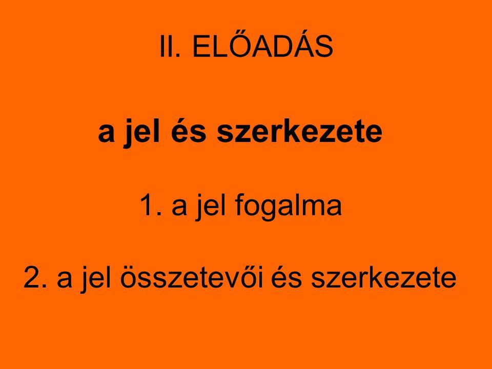 II. ELŐADÁS a jel és szerkezete 1. a jel fogalma 2. a jel összetevői és szerkezete