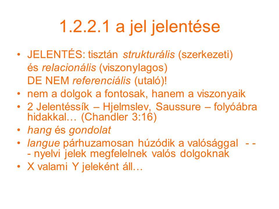 1.2.2.1 a jel jelentése JELENTÉS: tisztán strukturális (szerkezeti) és relacionális (viszonylagos) DE NEM referenciális (utaló).