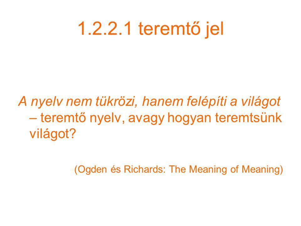 1.2.2.1 teremtő jel A nyelv nem tükrözi, hanem felépíti a világot – teremtő nyelv, avagy hogyan teremtsünk világot.