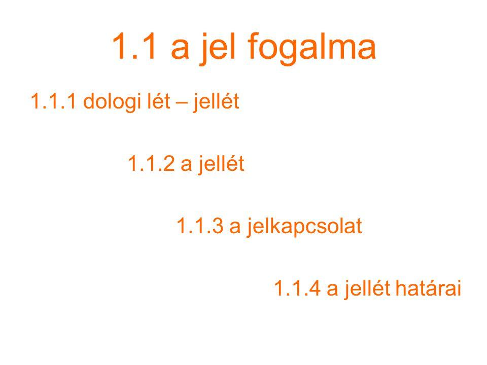 1.1 a jel fogalma 1.1.1 dologi lét – jellét 1.1.2 a jellét 1.1.3 a jelkapcsolat 1.1.4 a jellét határai