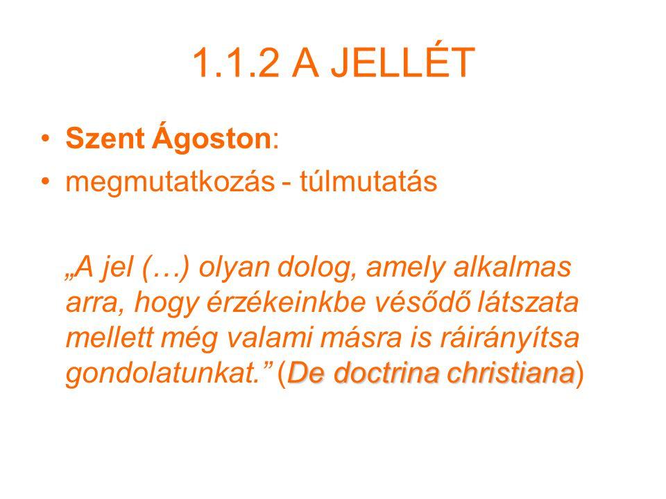 """1.1.2 A JELLÉT Szent Ágoston: megmutatkozás - túlmutatás De doctrina christiana """"A jel (…) olyan dolog, amely alkalmas arra, hogy érzékeinkbe vésődő látszata mellett még valami másra is ráirányítsa gondolatunkat. (De doctrina christiana)"""