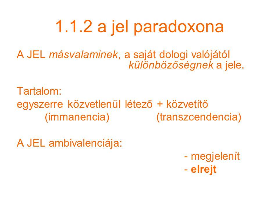1.1.2 a jel paradoxona A JEL másvalaminek, a saját dologi valójától különbözőségnek a jele.