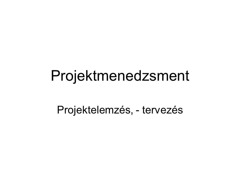 Projektmenedzsment Projektelemzés, - tervezés
