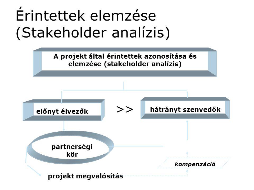 Érintettek elemzése (Stakeholder analízis) A projekt által érintettek azonosítása és elemzése (stakeholder analízis) hátrányt szenvedők előnyt élvezők partnerségi kör projekt megvalósítás >> kompenzáció