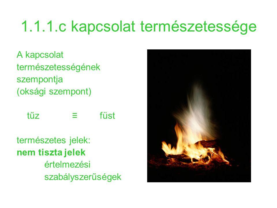 1.1.1.c kapcsolat természetessége A kapcsolat természetességének szempontja (oksági szempont) tűz ≡ füst természetes jelek: nem tiszta jelek értelmezé