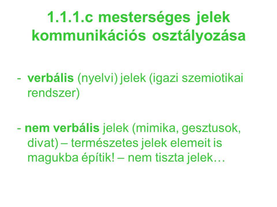 1.1.1.c mesterséges jelek kommunikációs osztályozása -verbális (nyelvi) jelek (igazi szemiotikai rendszer) - nem verbális jelek (mimika, gesztusok, di