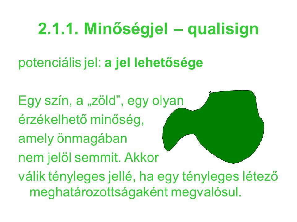 """2.1.1. Minőségjel – qualisign potenciális jel: a jel lehetősége Egy szín, a """"zöld"""", egy olyan érzékelhető minőség, amely önmagában nem jelöl semmit. A"""