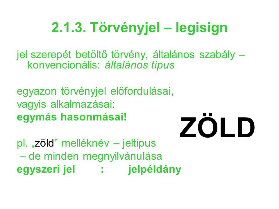 2.1.3. Törvényjel – legisign jel szerepét betöltő törvény, általános szabály – konvencionális: általános típus egyazon törvényjel előfordulásai, vagyi