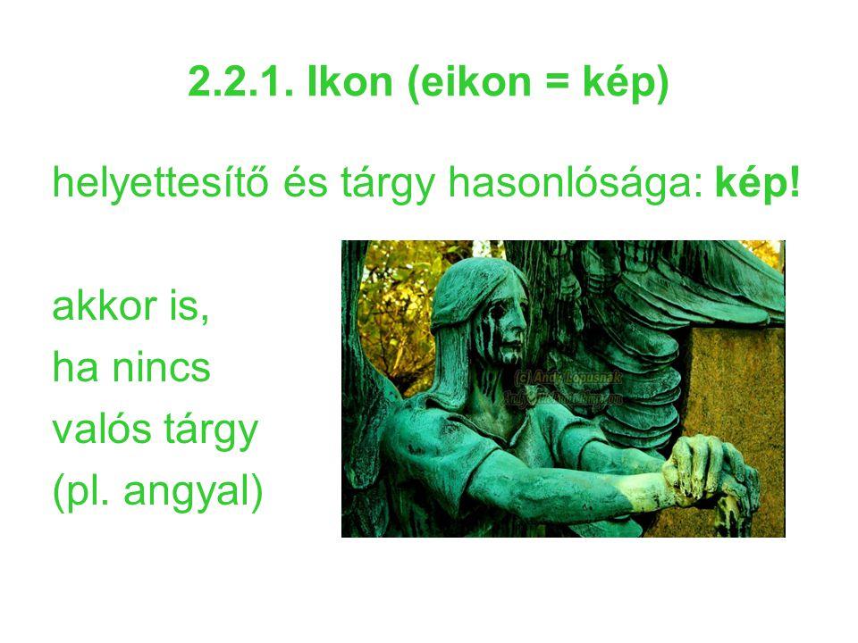 2.2.1. Ikon (eikon = kép) helyettesítő és tárgy hasonlósága: kép! akkor is, ha nincs valós tárgy (pl. angyal)