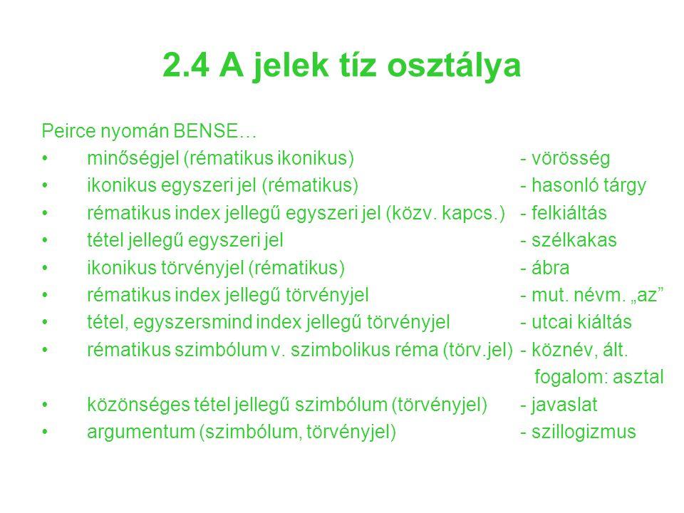2.4 A jelek tíz osztálya Peirce nyomán BENSE… minőségjel (rématikus ikonikus)- vörösség ikonikus egyszeri jel (rématikus)- hasonló tárgy rématikus ind