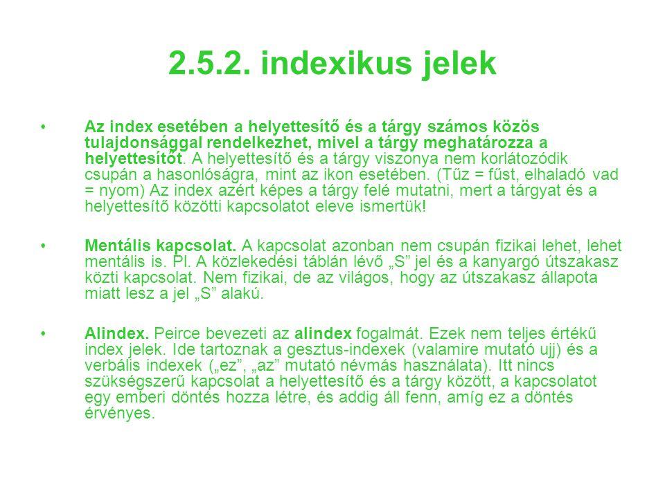 2.5.2. indexikus jelek Az index esetében a helyettesítő és a tárgy számos közös tulajdonsággal rendelkezhet, mivel a tárgy meghatározza a helyettesítő