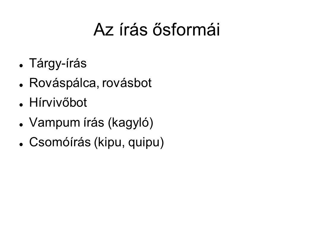 Az írás ősformái Tárgy-írás Rováspálca, rovásbot Hírvivőbot Vampum írás (kagyló) Csomóírás (kipu, quipu)