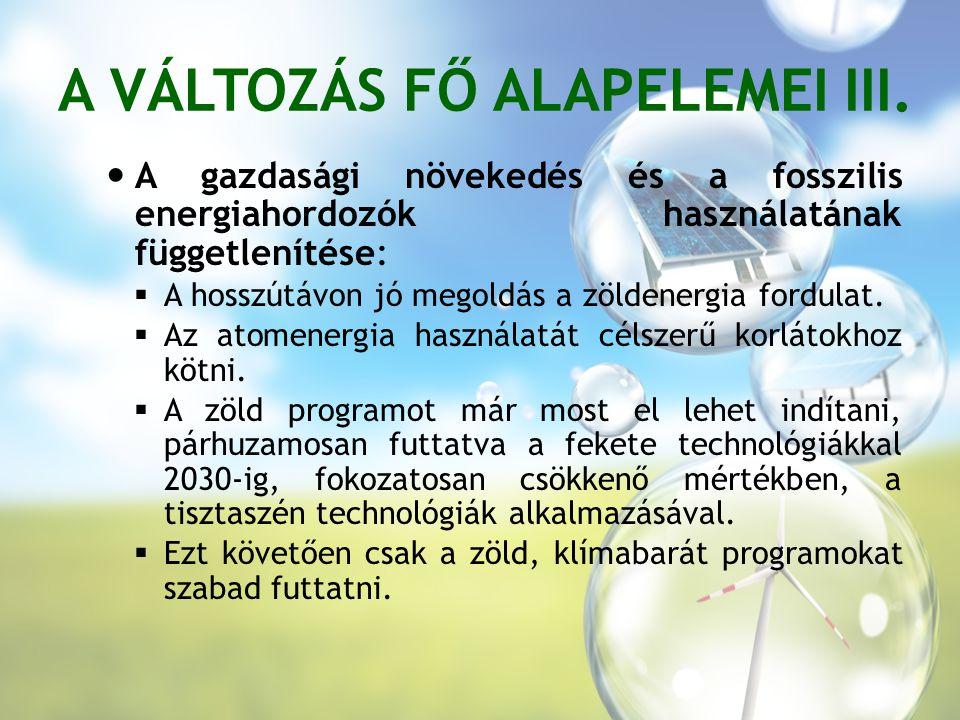 A VÁLTOZÁS FŐ ALAPELEMEI III.