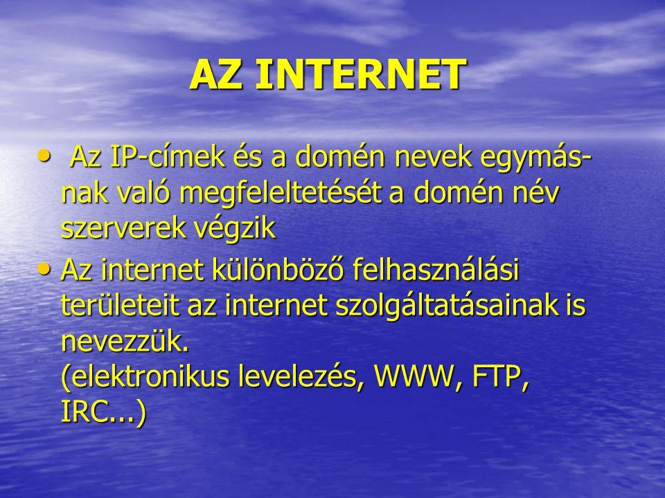 AZ INTERNET Az IP-címek és a domén nevek egymás- nak való megfeleltetését a domén név szerverek végzik Az IP-címek és a domén nevek egymás- nak való megfeleltetését a domén név szerverek végzik Az internet különböző felhasználási területeit az internet szolgáltatásainak is nevezzük.