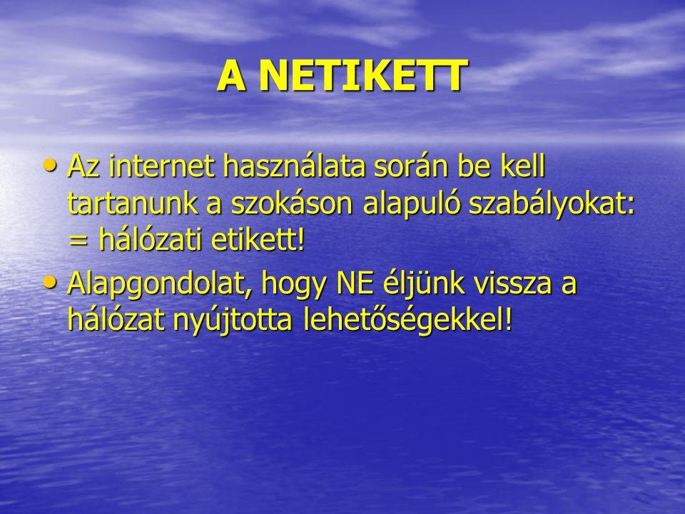 A NETIKETT Az internet használata során be kell tartanunk a szokáson alapuló szabályokat: = hálózati etikett! Az internet használata során be kell tar