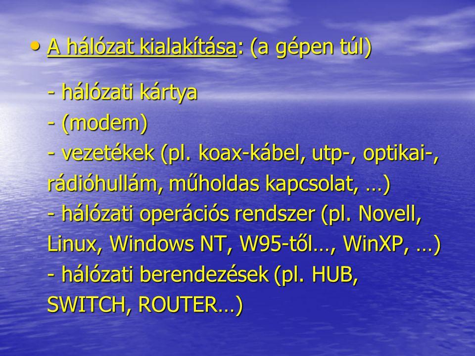 A hálózat kialakítása: (a gépen túl) - hálózati kártya - (modem) - vezetékek (pl. koax-kábel, utp-, optikai-, rádióhullám, műholdas kapcsolat, …) - há