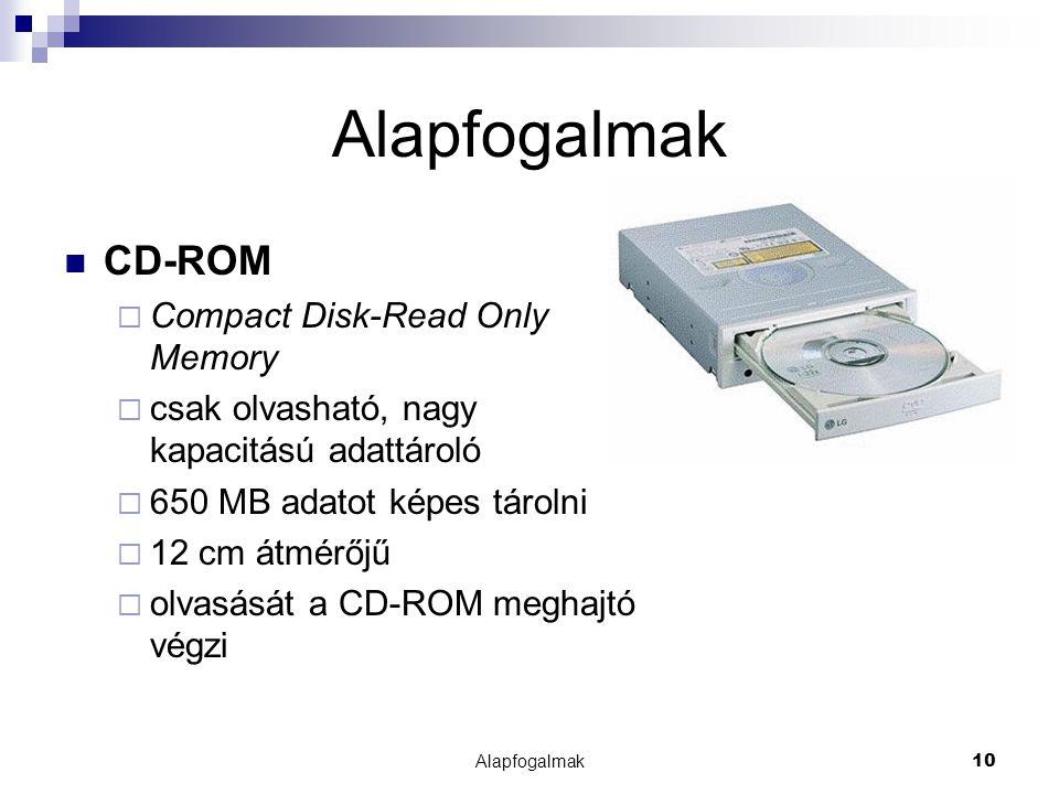 Alapfogalmak10 Alapfogalmak CD-ROM  Compact Disk-Read Only Memory  csak olvasható, nagy kapacitású adattároló  650 MB adatot képes tárolni  12 cm