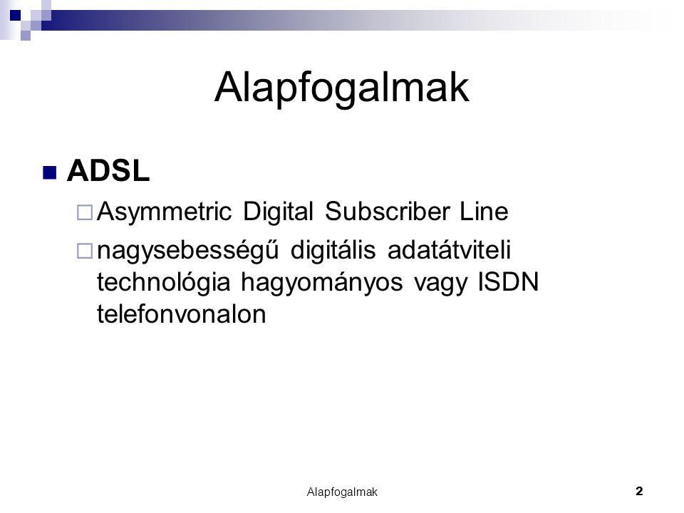 Alapfogalmak2 ADSL  Asymmetric Digital Subscriber Line  nagysebességű digitális adatátviteli technológia hagyományos vagy ISDN telefonvonalon