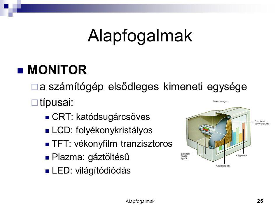 Alapfogalmak25 Alapfogalmak MONITOR  a számítógép elsődleges kimeneti egysége  típusai: CRT: katódsugárcsöves LCD: folyékonykristályos TFT: vékonyfi