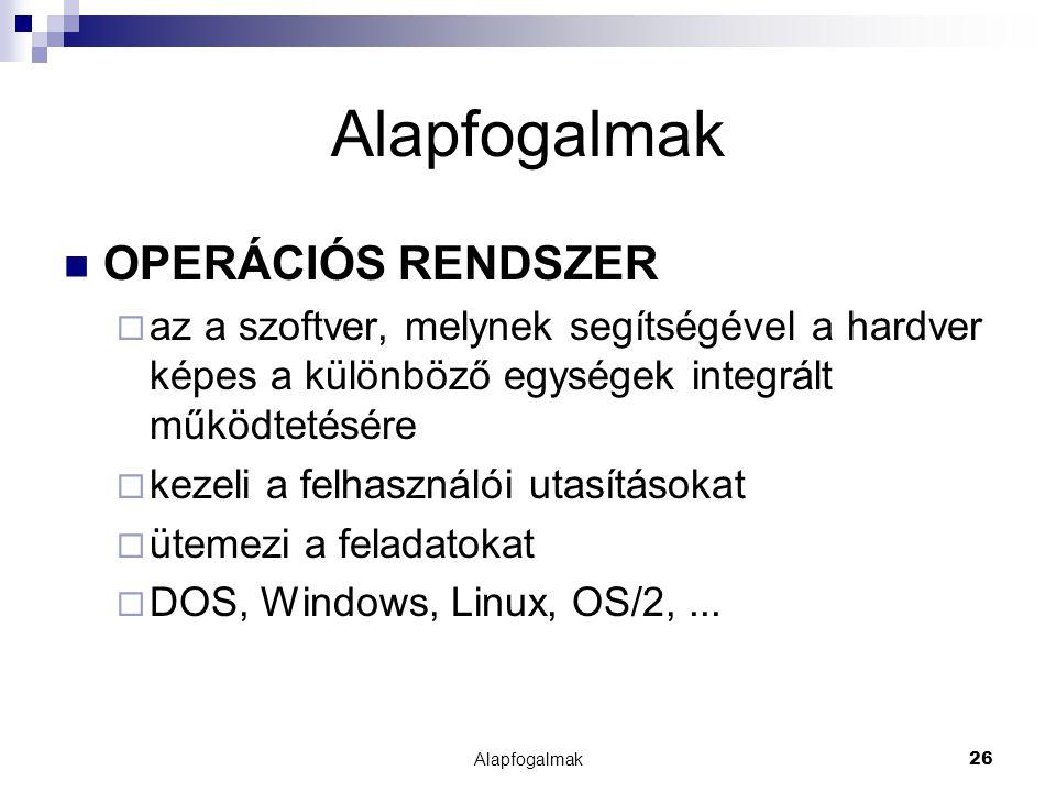 Alapfogalmak26 Alapfogalmak OPERÁCIÓS RENDSZER  az a szoftver, melynek segítségével a hardver képes a különböző egységek integrált működtetésére  ke
