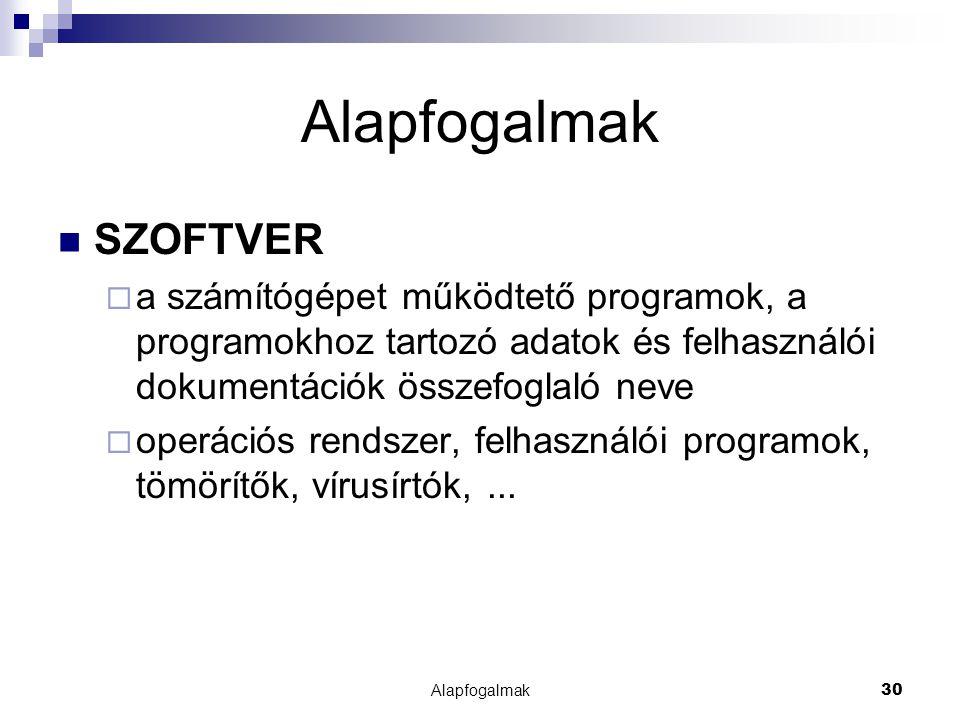 Alapfogalmak30 Alapfogalmak SZOFTVER  a számítógépet működtető programok, a programokhoz tartozó adatok és felhasználói dokumentációk összefoglaló ne
