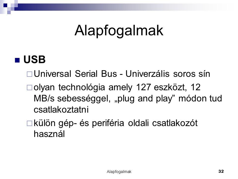 """Alapfogalmak32 Alapfogalmak USB  Universal Serial Bus - Univerzális soros sín  olyan technológia amely 127 eszközt, 12 MB/s sebességgel, """"plug and p"""