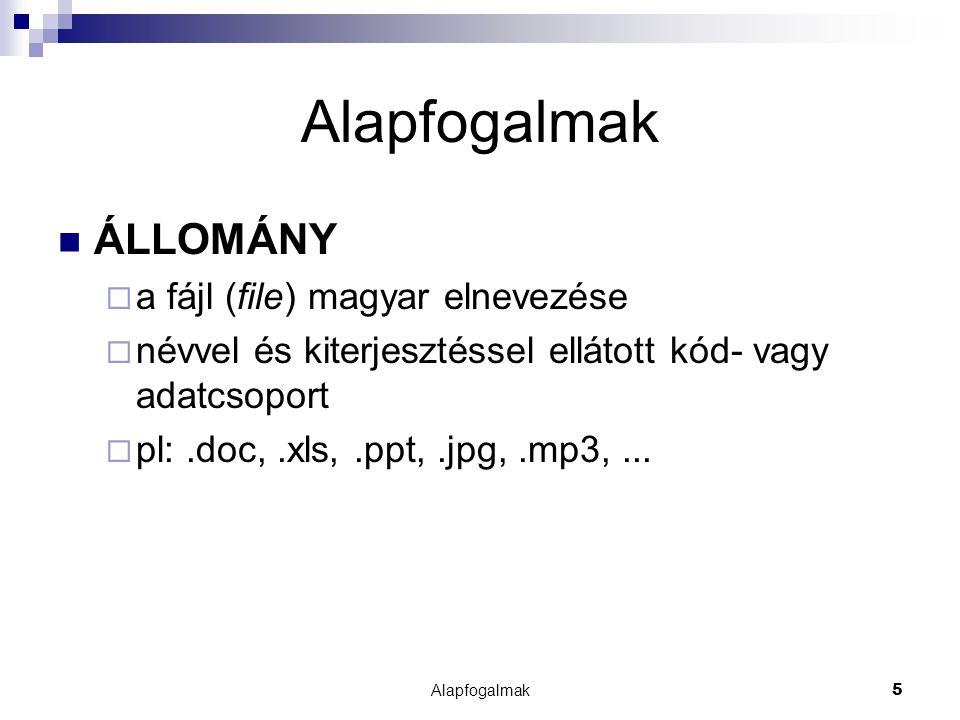 5 ÁLLOMÁNY  a fájl (file) magyar elnevezése  névvel és kiterjesztéssel ellátott kód- vagy adatcsoport  pl:.doc,.xls,.ppt,.jpg,.mp3,...