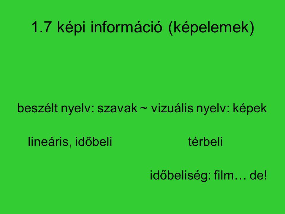 1.7 képi információ (képelemek) beszélt nyelv: szavak ~ vizuális nyelv: képek lineáris, időbelitérbeli időbeliség: film… de!