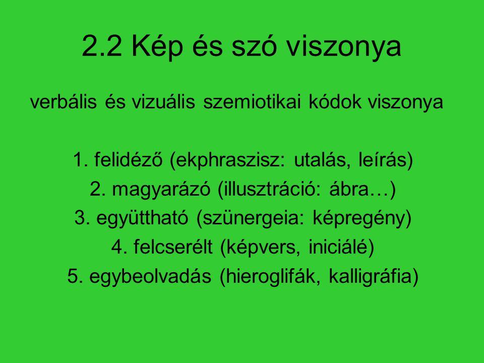 2.2 Kép és szó viszonya verbális és vizuális szemiotikai kódok viszonya 1. felidéző (ekphraszisz: utalás, leírás) 2. magyarázó (illusztráció: ábra…) 3