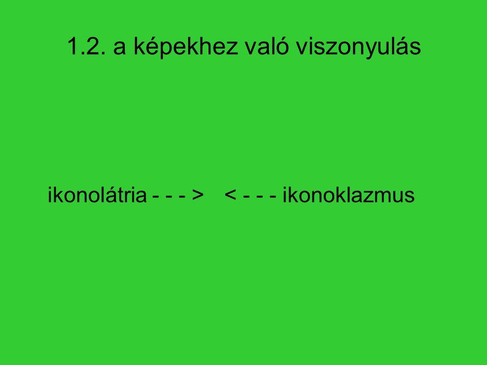 1.2. a képekhez való viszonyulás ikonolátria - - - >< - - - ikonoklazmus