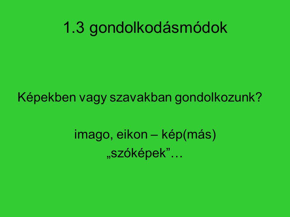 """1.3 gondolkodásmódok Képekben vagy szavakban gondolkozunk? imago, eikon – kép(más) """"szóképek""""…"""