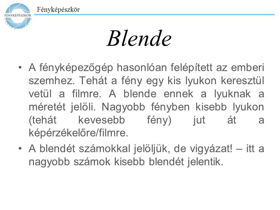 Fényképészkör Blende A fényképezőgép hasonlóan felépített az emberi szemhez. Tehát a fény egy kis lyukon keresztül vetül a filmre. A blende ennek a ly
