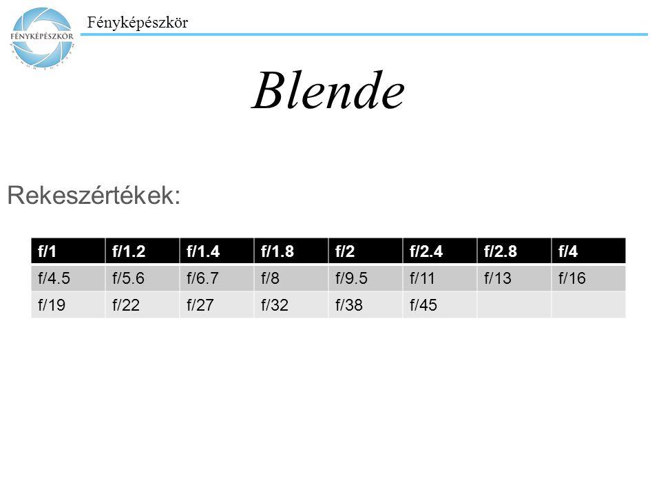 Fényképészkör Blende f/1f/1.2f/1.4f/1.8f/2f/2.4f/2.8f/4 f/4.5f/5.6f/6.7f/8f/9.5f/11f/13f/16 f/19f/22f/27f/32f/38f/45 Rekeszértékek: