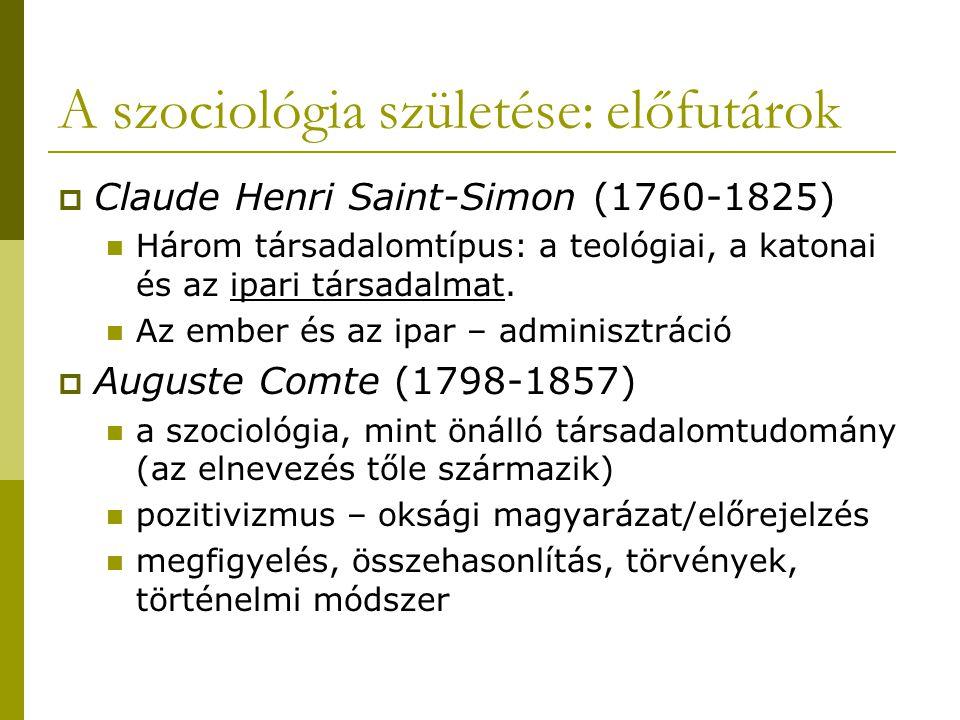 A szociológia születése: előfutárok  Claude Henri Saint-Simon (1760-1825) Három társadalomtípus: a teológiai, a katonai és az ipari társadalmat. Az e