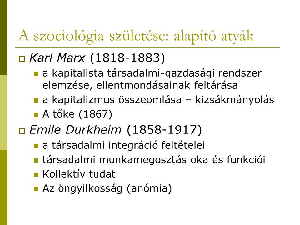 A szociológia születése: alapító atyák  Karl Marx (1818-1883) a kapitalista társadalmi-gazdasági rendszer elemzése, ellentmondásainak feltárása a kap