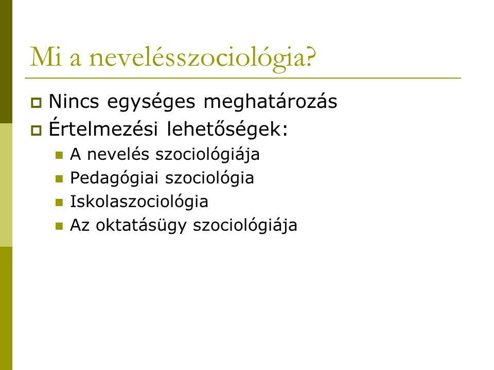 Mi a nevelésszociológia?  Nincs egységes meghatározás  Értelmezési lehetőségek: A nevelés szociológiája Pedagógiai szociológia Iskolaszociológia Az