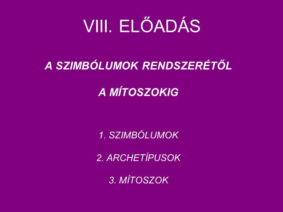 VIII. ELŐADÁS A SZIMBÓLUMOK RENDSZERÉTŐL A MÍTOSZOKIG 1. SZIMBÓLUMOK 2. ARCHETÍPUSOK 3. MÍTOSZOK
