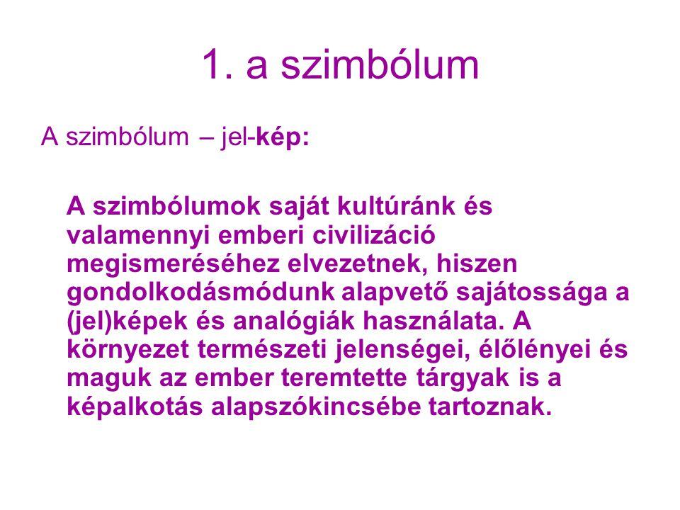 1. a szimbólum A szimbólum – jel-kép: A szimbólumok saját kultúránk és valamennyi emberi civilizáció megismeréséhez elvezetnek, hiszen gondolkodásmódu