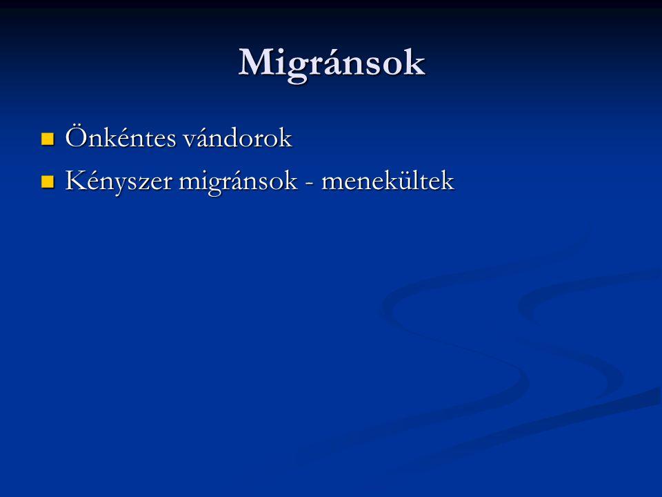 Migránsok Önkéntes vándorok Önkéntes vándorok Kényszer migránsok - menekültek Kényszer migránsok - menekültek