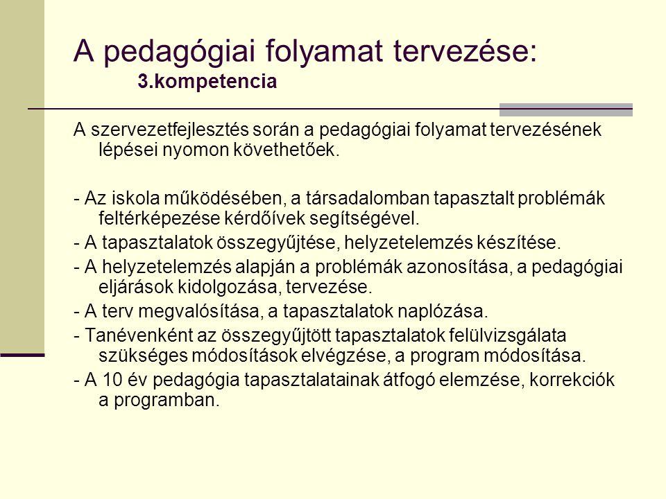 A pedagógiai folyamat tervezése: 3.kompetencia A szervezetfejlesztés során a pedagógiai folyamat tervezésének lépései nyomon követhetőek.