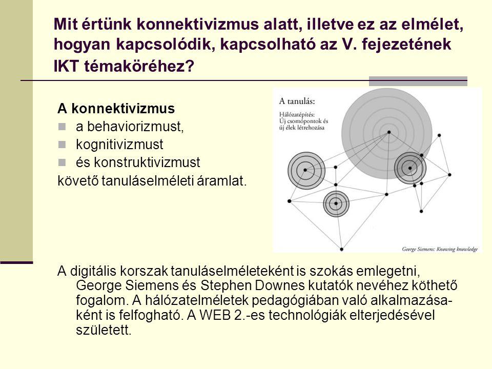 Mit értünk konnektivizmus alatt, illetve ez az elmélet, hogyan kapcsolódik, kapcsolható az V.