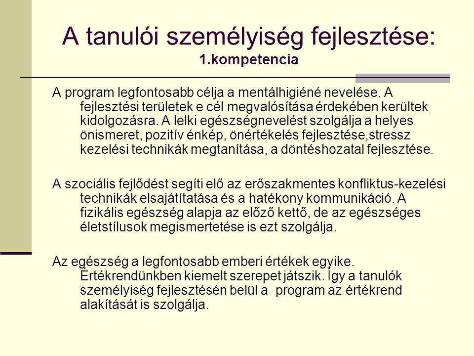 A tanulói személyiség fejlesztése: 1.kompetencia A program legfontosabb célja a mentálhigiéné nevelése.