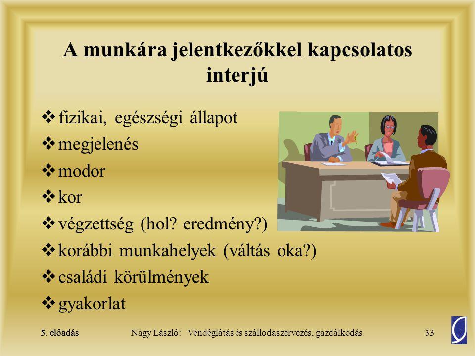 5. előadás 32Nagy László: Vendéglátás és szállodaszervezés, gazdálkodás5. előadás32 Munkabér elszámolása  Alapja:  a munkaszerződés,  a teljesítmén