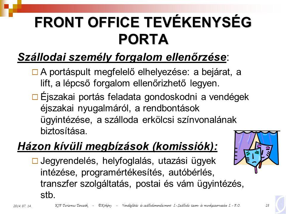 KJF Turizmus Tanszék - ©Kökény - Vendéglátás és szállodamendzsment I.- Szálloda üzem- és munkaszervezése I. - F.O.28 2014. 07. 14. FRONT OFFICE TEVÉKE