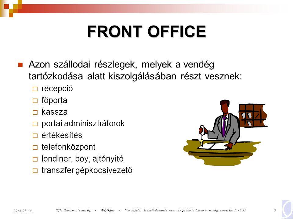 KJF Turizmus Tanszék - ©Kökény - Vendéglátás és szállodamendzsment I.- Szálloda üzem- és munkaszervezése I. - F.O.3 2014. 07. 14. FRONT OFFICE Azon sz