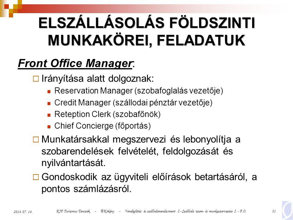 KJF Turizmus Tanszék - ©Kökény - Vendéglátás és szállodamendzsment I.- Szálloda üzem- és munkaszervezése I. - F.O.31 2014. 07. 14. ELSZÁLLÁSOLÁS FÖLDS