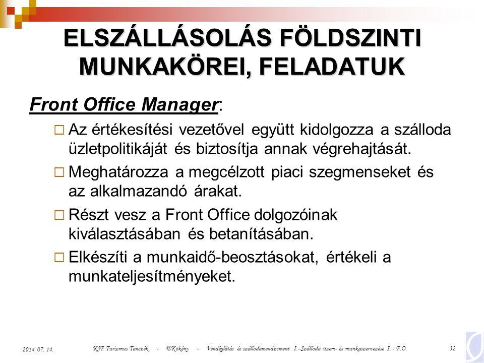 KJF Turizmus Tanszék - ©Kökény - Vendéglátás és szállodamendzsment I.- Szálloda üzem- és munkaszervezése I. - F.O.32 2014. 07. 14. ELSZÁLLÁSOLÁS FÖLDS